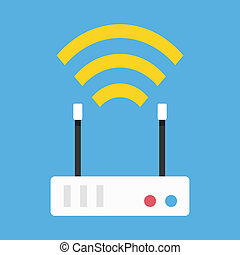 無線, ルーター, ベクトル, ネットワーク, アイコン