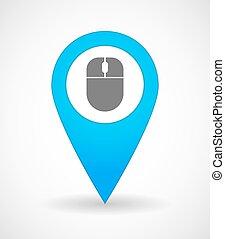 無線, 地図, アイコン, マウス, 印