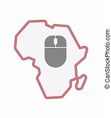 無線, 地図, マウス, 隔離された, アフリカ