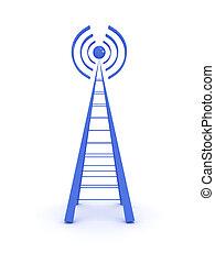 無線, 塔, 被隔离, 在懷特上, 背景。, 3d, 圖像