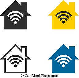 無線, 家, ネットワーク, アイコン