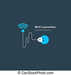 無線, 概念, アクセス, 接続, インターネット, wi - fi