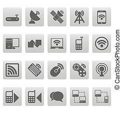 無線, 灰色, 正方形, アイコン