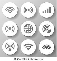 無線, 白, セット, アイコン