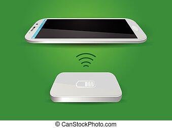 無線, 電池, smartphone, 充電器