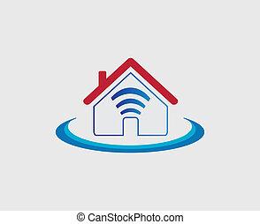 無線, wifi, 家, シンボル