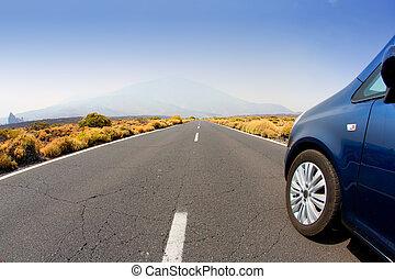 無限点, 自動車, tenerife, 消失, 見通し, 道