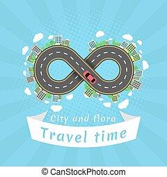 無限点, road., 旅行, time., 漫画, 赤, 車。, ∥, carriageway., halftone,...