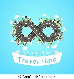 無限点, road., 旅行, time., a, 漫画, 赤, 車。, ∥, carriageway., 旗, の,...