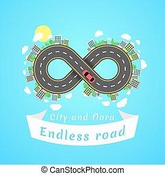 無限, road., 旅行, time., 漫画, 赤, 車。, ∥, carriageway., 旗, の, 白,...