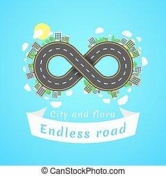 無限, road., 旅行, time., ∥, carriageway., 旗, の, 白, ribbon., 都市,...