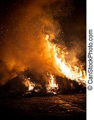 無駄, 古い, 燃焼, 木。, incineration., 屑