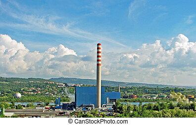 無駄, 市の, 煙突, incinerator