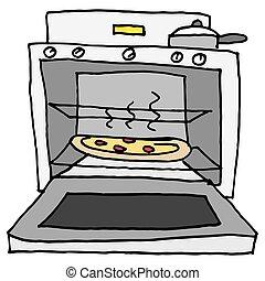 焼かれた, オーブン, ピザ