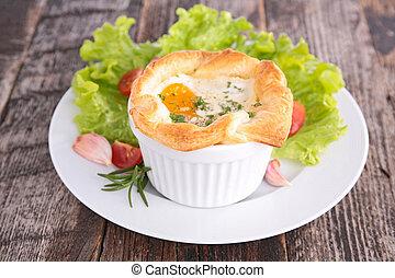 焼かれた, 卵
