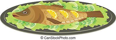 焼かれた, 皿, fish
