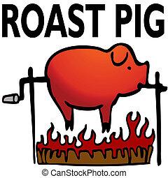 焼かれた, 豚