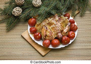 焼かれた, 鶏, ∥ために∥, クリスマスの夕食, お祝い, テーブルの 設定