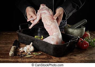 焼き肉, シェフ, シカの肉, うさぎ, 野生, 表示