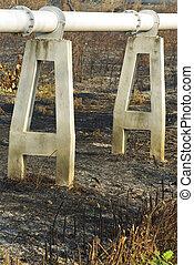 焼跡, ガス 管, フィールド, 簀の目紙, によって, 線