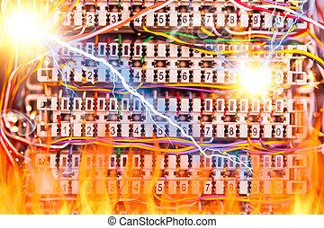 焼跡, ケーブル, 電気, ショック, 電話, 稲光, 火, 概念, 配電盤, 線