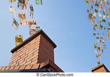 煙突, お金は飛ぶ, の上, ユーロ