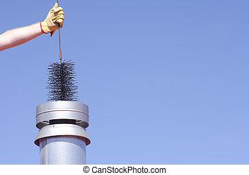 煙突, 掃除人, 空, 清掃, 背景