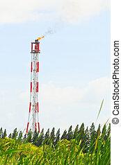 煙突, 燃焼, 火炎信号, 中に, ∥, 石油化学 企業