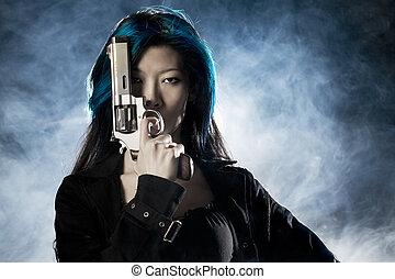 煙, アジア人, 美しさ, 保有物, 銃