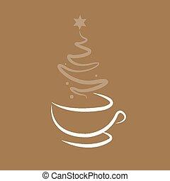 煙, クリスマスツリー, カップ, コーヒー