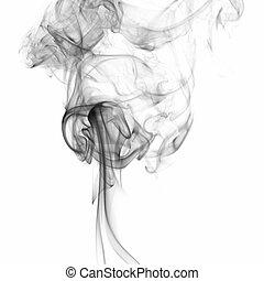 煙, 白, 黒, 隔離された, 背景