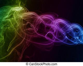 煙, 着色される虹, 抽象的, 黒