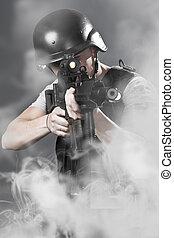 煙, 軍隊, 上に, 銃, 機械, 背景, 保有物, 人