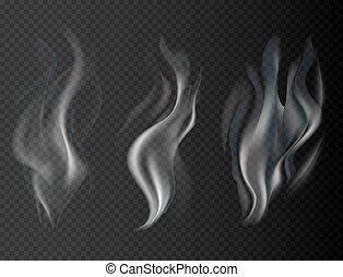 煙, 隔離された, イラスト, ベクトル, 背景, 透明