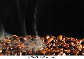 煙, 黒, coffe, 背景, 焼けている