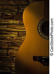 照らされた, ギター, に対して, 梁, light., れんがの壁, 音響