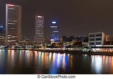 照らされた, スカイライン, の, シンガポール, 夜で