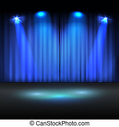 照らされた, ステージ, ベクトル, テンプレート