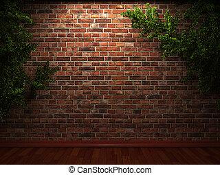 照らされた, ツタ, 壁, れんが