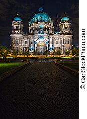 照らされた, ライト, ベルリン, ドイツ, 大聖堂, 明り