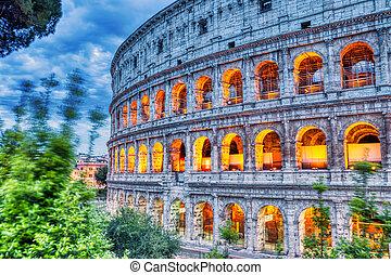 照らされた, ローマ, 夕闇, colosseum
