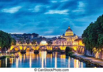 照らされた, ローマ, 大聖堂, st. ピーター, 夕闇