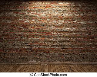 照らされた, 壁, れんが