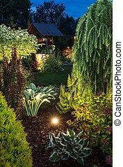 照らされた, 庭, 夜