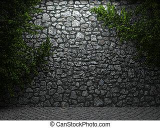 照らされた, 石の壁, ツタ