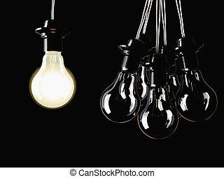 照らされた, 蛍光, 電球, ライト