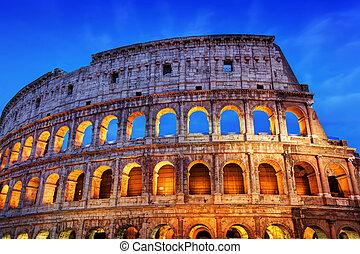 照らされた, italy., ローマ, 夜, colosseum, amphitheatre