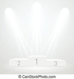 照らされた, mockup., 賞, ceremoty, ベクトル, podium., テンプレート, 白, スポーツ