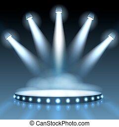 照らされた, spotlights., 抽象的, 演壇, ベクトル, 背景, プレゼンテーション