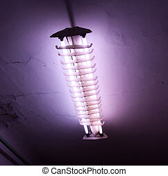 照ること, 蛍光, 光線, 古い, 背景, ライト, 暗い, チューブ